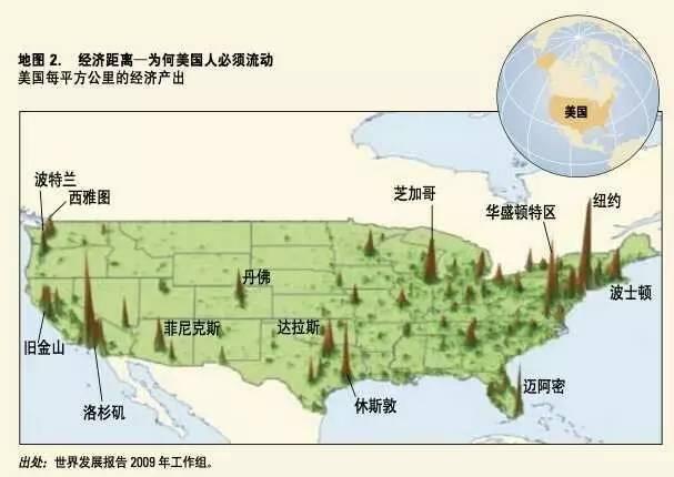 经济距离,美国人必须流动,每平方公里产出